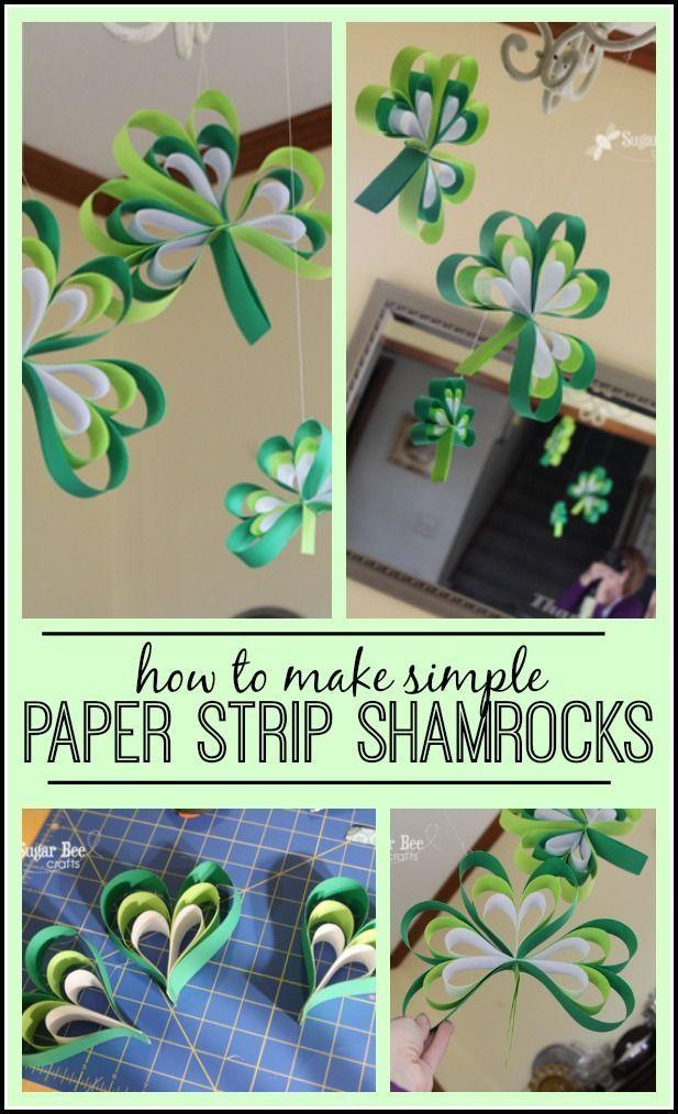Paper Strip Shamrock!! | St patrick's day crafts, St ...