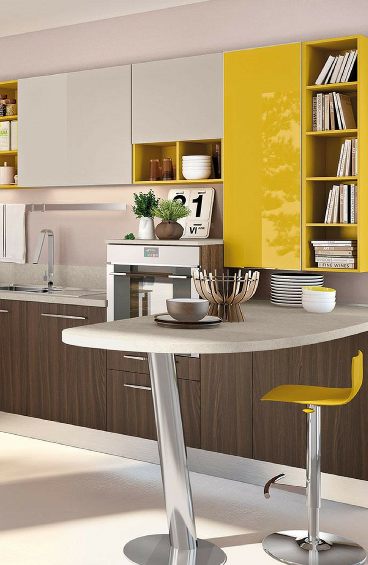 Best Great Splash Of Yellow In This Sleek Modern Kitchen 400 x 300