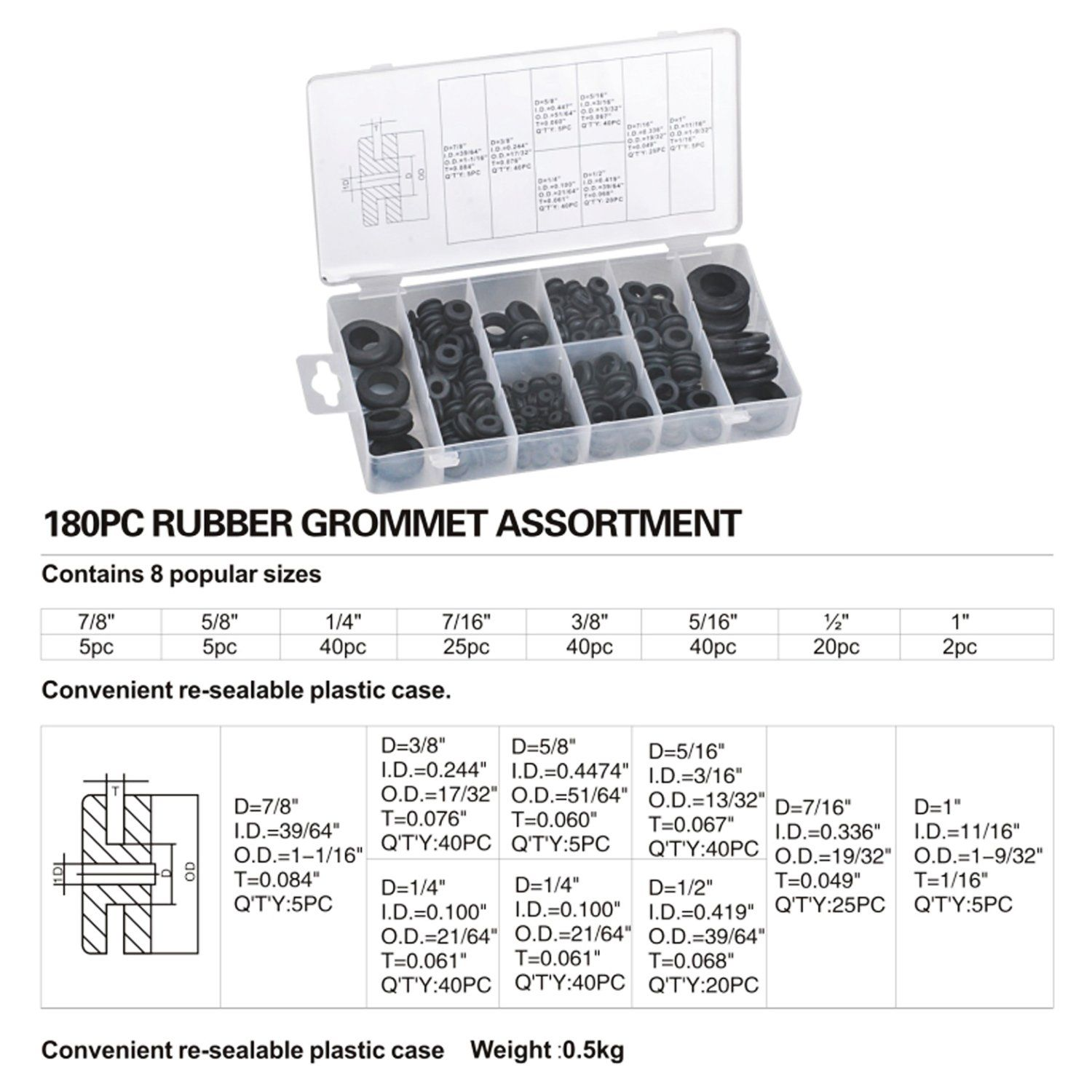 Eboot Rubber Grommet Assortment Kit Electrical Conductor Gasket Ring Set For Wire Plug And Cable 180 Pieces A Electrical Conductor Rubber Grommets Grommets