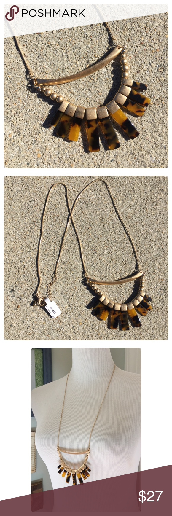 """Boho Tortoiseshell Necklace NWT NWT. From a boutique in Fells Point. Brushed gold-tone metal with slight distressing for a vintage look. Tortoiseshell pendant. Lobster clasp. Adjustable 30-33"""" long including pendant which is about 3"""" by 3"""". No trades or pp 10% bundle discount Jewelry Necklaces"""