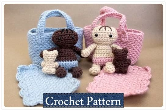 Amigurumi PATTERN Crochet Baby Doll Playset Moses Basket with Doll ...