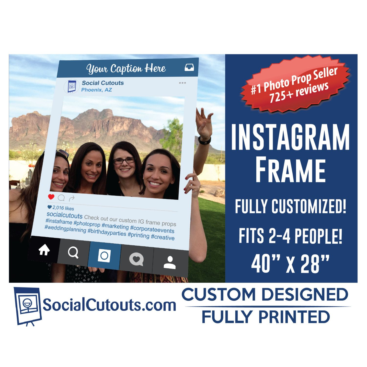 Instagram Frame Printed and Shipped to you. Fully Customized Cutout ...