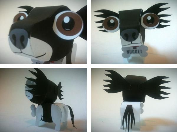 Nugget The Dog Paper Toy - by Andrew Knights  - == -  Andrew Knights is an Australian designer and the author of this really funny Nugget The Dog Paper Toy.