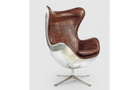 Beautiful Arne Jacobsen Egg Chair Reproduction With Brown Faux Leather And  Aluminium Shell