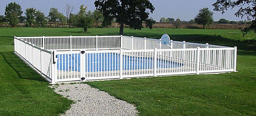 Vinyl Pool Fence And Vinyl Pool Fencing By A Vinyl Fence And Deck Wholesaler Pool Fence Fence Around Pool Backyard Pool Designs