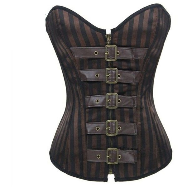 40f8d062d11 Bamu Steampunk Corset Tops Coffee Steel Bone Overbust Corsets Waist...  (8.060 HUF) ❤ liked on Polyvore featuring tops