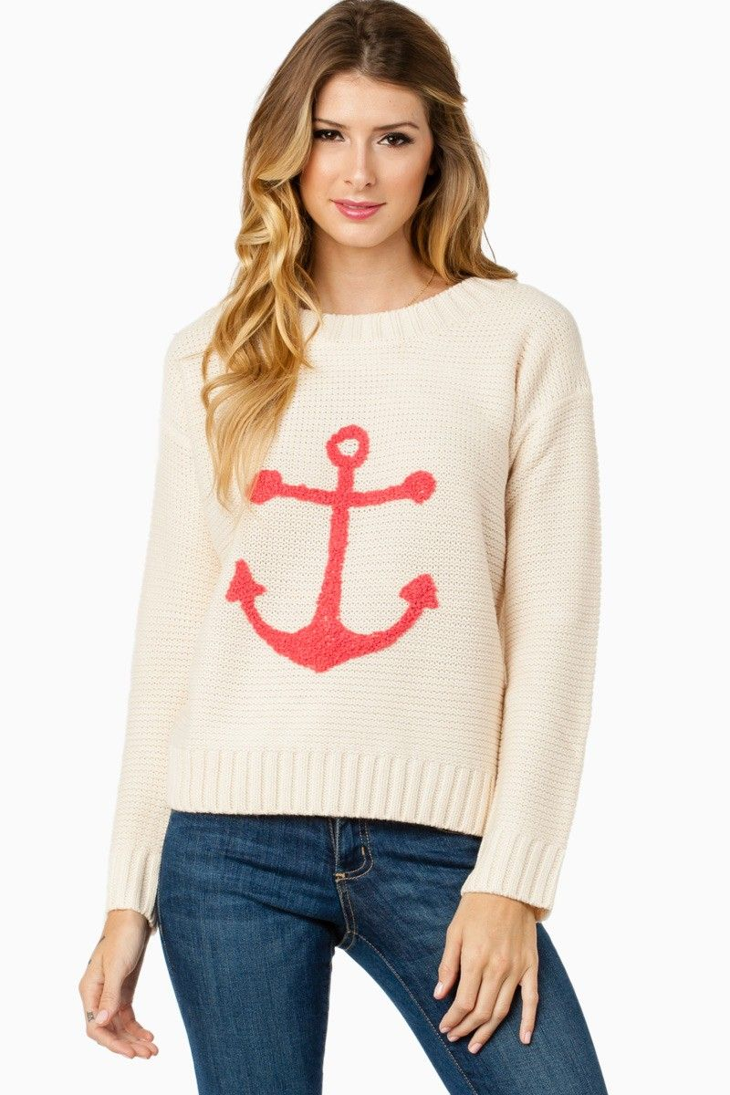 Sea Anchor Sweater in Ivory and Pink / ShopSosie #shopsosie #sosie #anchor #sweater