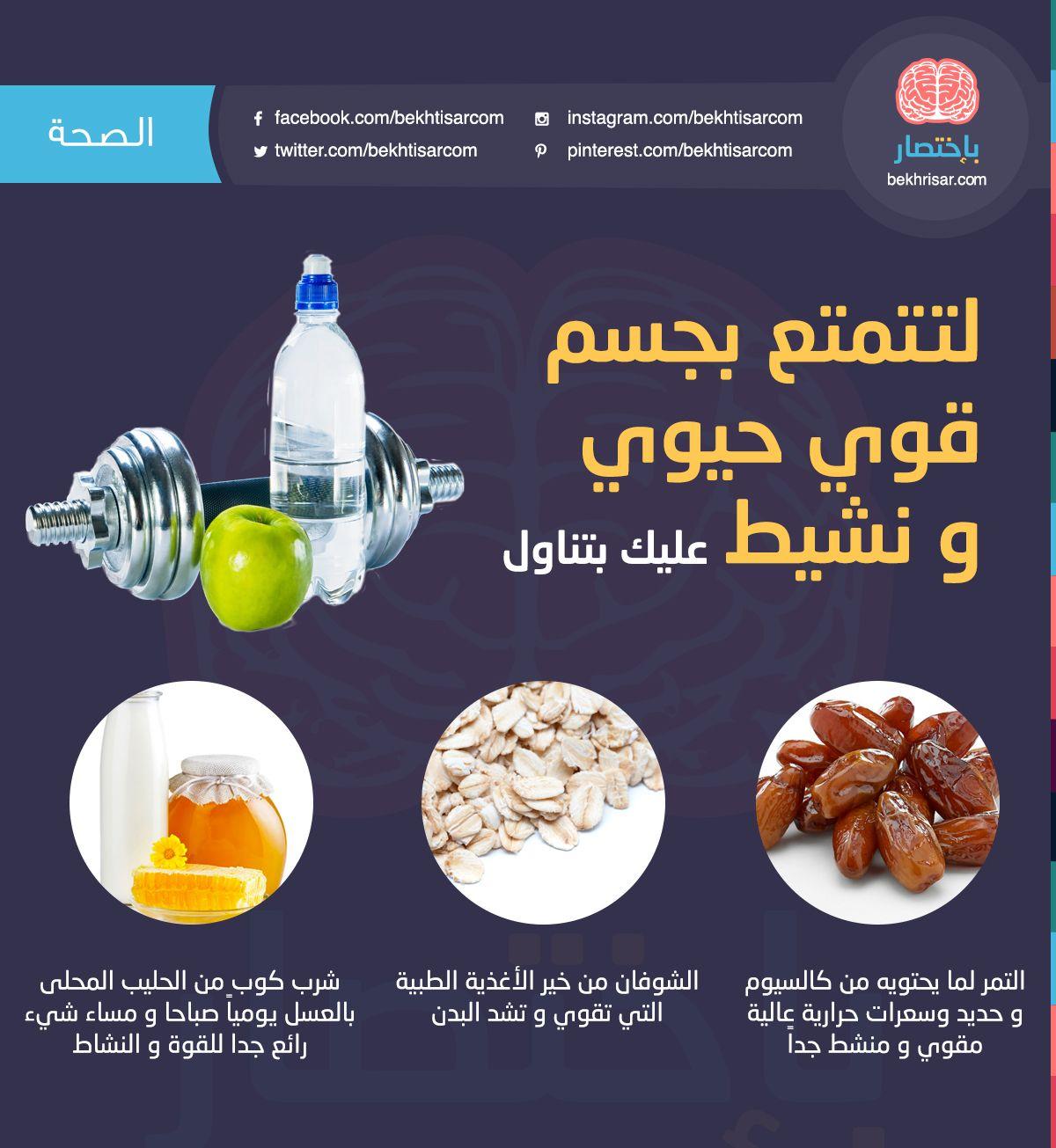 تحلم بجسم قوي حيوي و نشيط باختصار جسم قوي حيوي نشيط تناول التمر الش Health Fitness Nutrition Health And Nutrition Health Food