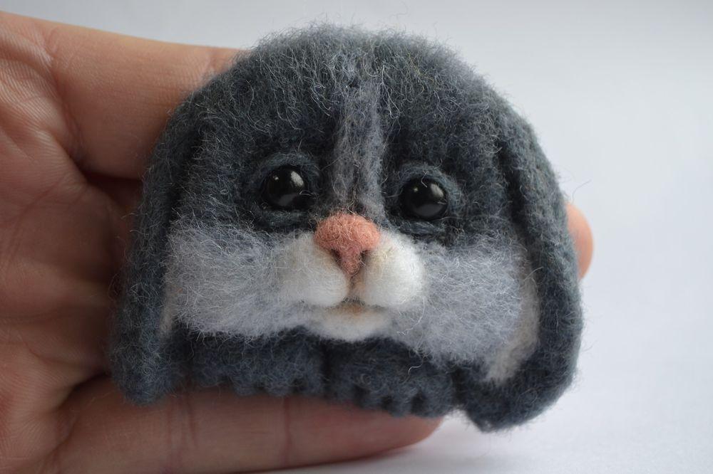 Stuffed Handmade Neede Felted Brooch Rabbit Bunny Artist Wool Miniature 2in #Handmade