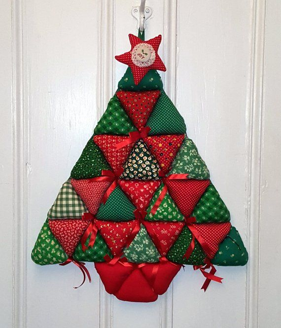 Vintage Fabric Christmas Tree Handmade Quilted Wall Hanging