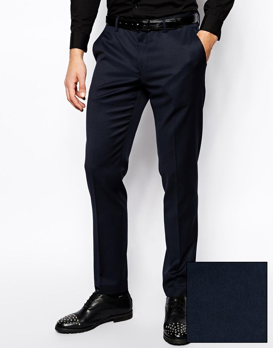 Tuxedo trousers by ASOS Made from a poly blend fabric Concealed zip fly and bar closure Side seam pockets with welt pockets to reverse Skinny fit