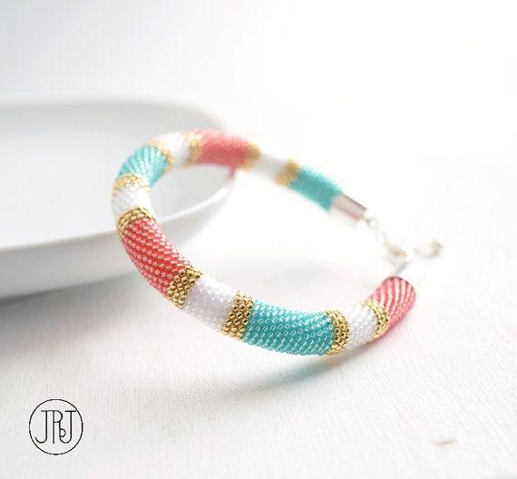 Peach Mint Bangle, Colorblock Beaded Bracelet, Color Block Modern Geometric Bangle, Minimalist Style, Bright Pastels, Salmon Pink
