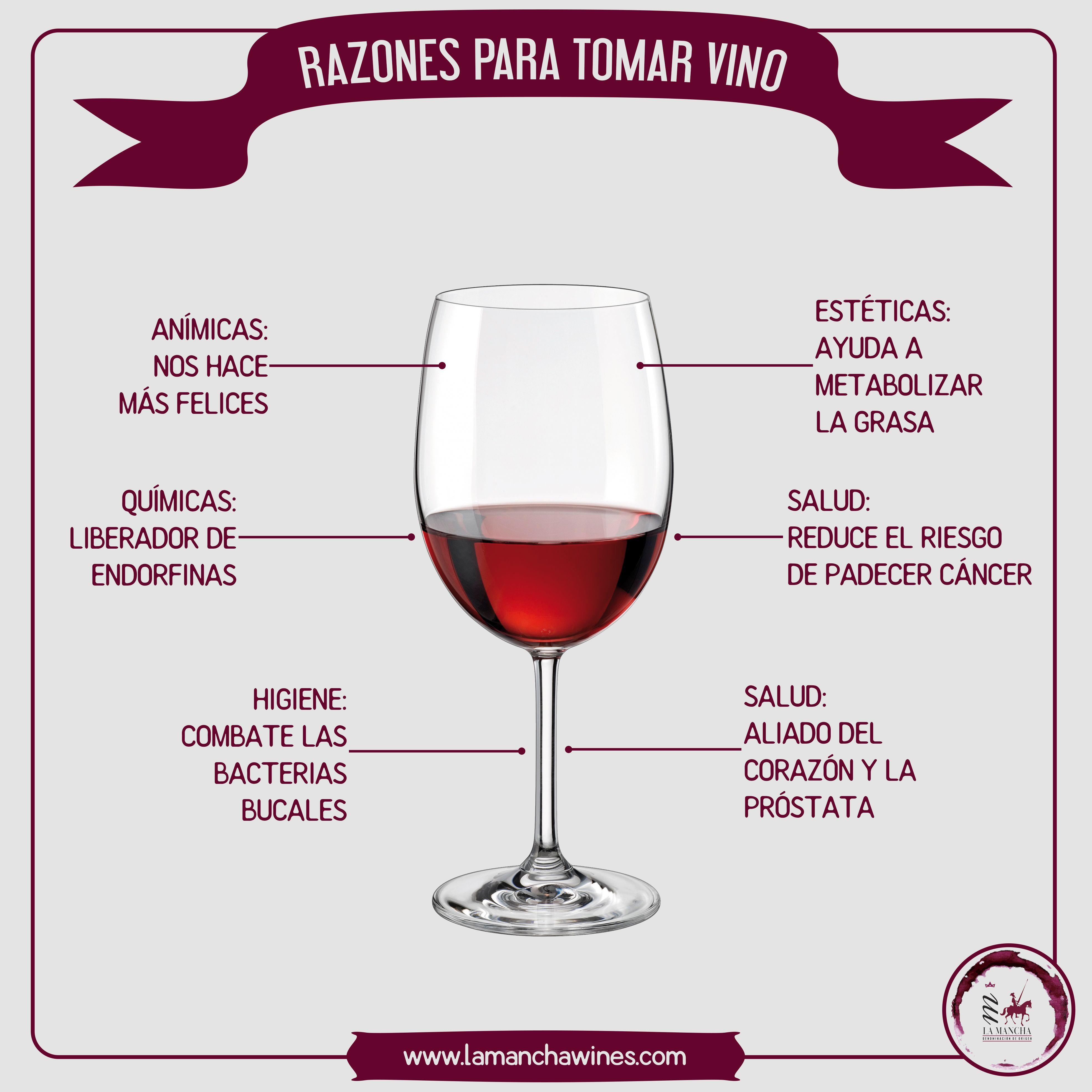 Razones Para Tomar Una O Dos Copas De Vino Diarias Vino Salud Infografía Beneficios Wine Red Wine Alcoholic Drinks Wines