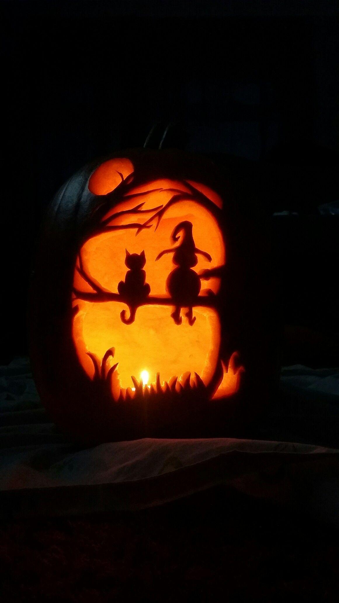 Witch n cat #pumpkins #carvings #halloween | halloween | Pinterest ...
