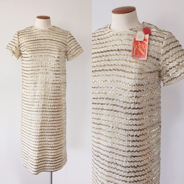 S deadstock gold sequin shift dress