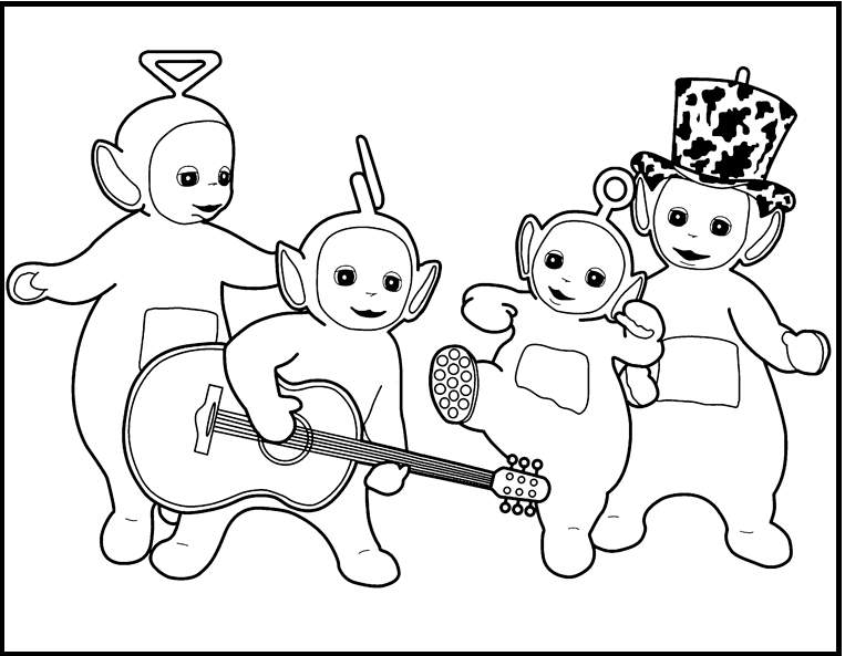 teletubbies play music together coloring picture for kids - Teletubbies Coloring Page