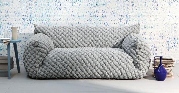 Designer Sofa Bezug Sofa Grau Interieur Design