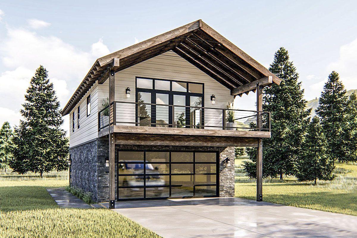 Plan 62778dj Modern Rustic Garage Apartment Plan With Vaulted Interior In 2021 Garage Apartment Plan Garage Apartments Carriage House Plans