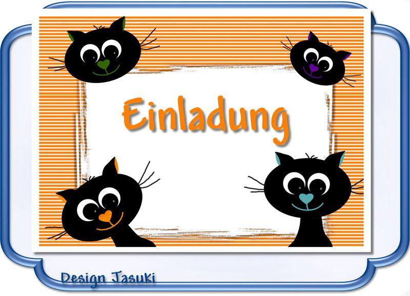 Einladung Kindergeburtstag Katze Schwarz