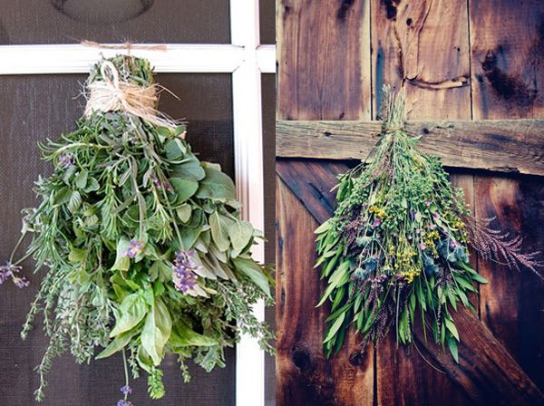 Place bouquets of fresh herbs and lavender throughout the party-on the backs of chairs, on doors etc..