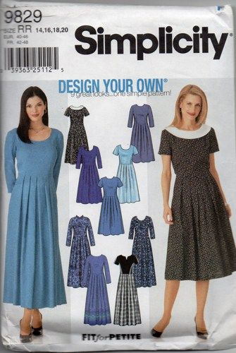 Simplicity 9829 Design Your Own Dress Pattern Womens Sewing Pattern ...