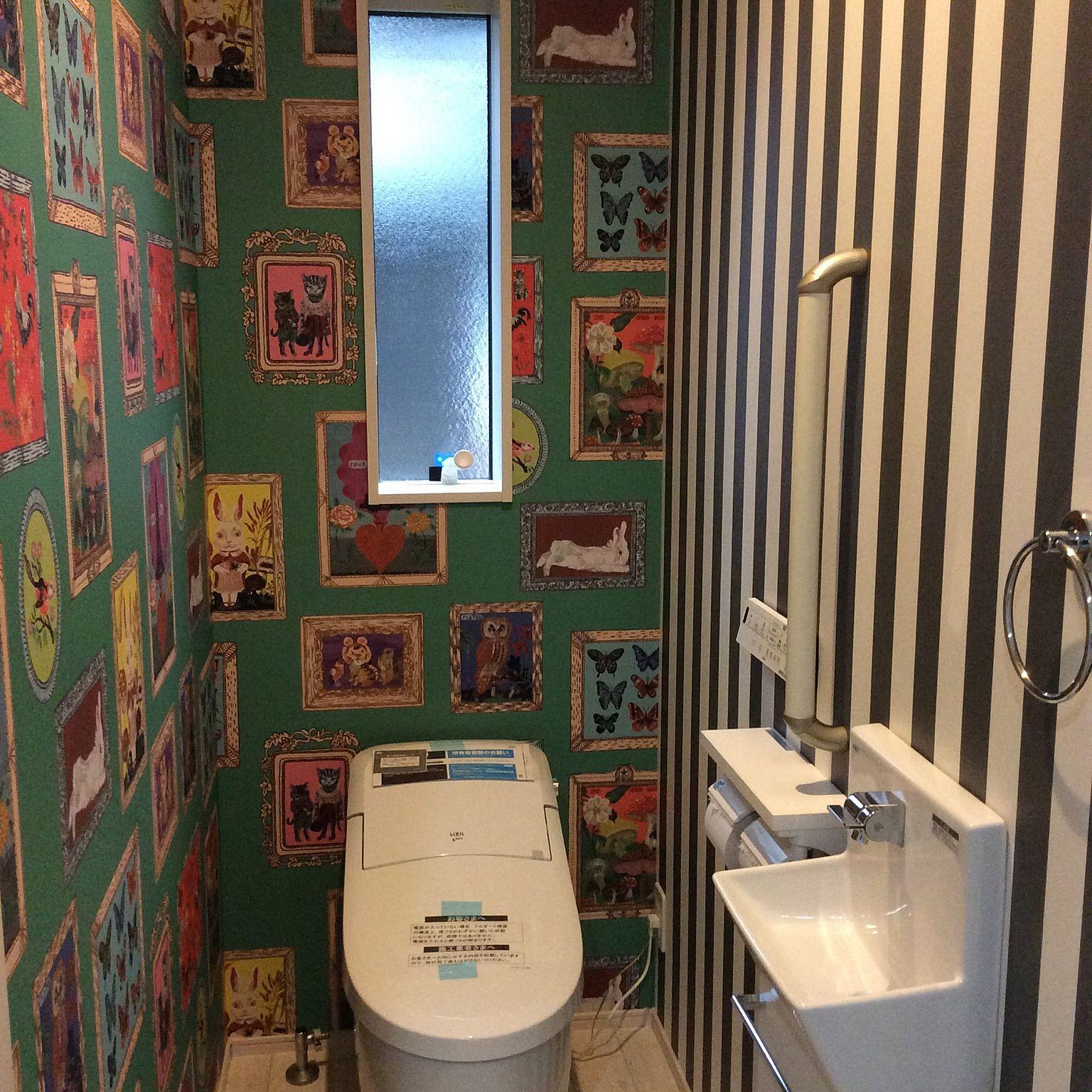 バス トイレ ストライプ リクシルのトイレ ナタリーレテの壁紙