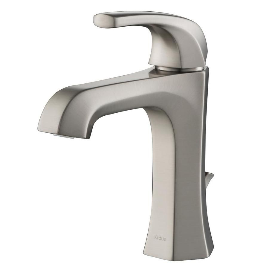 Kraus Esta Spot Free Stainless Steel 1 Handle Single Hole Watersense Bathroom Sink Faucet With Drain Lowes Com In 2020 Stainless Steel Faucets Bathroom Faucets Single Hole Bathroom Faucet