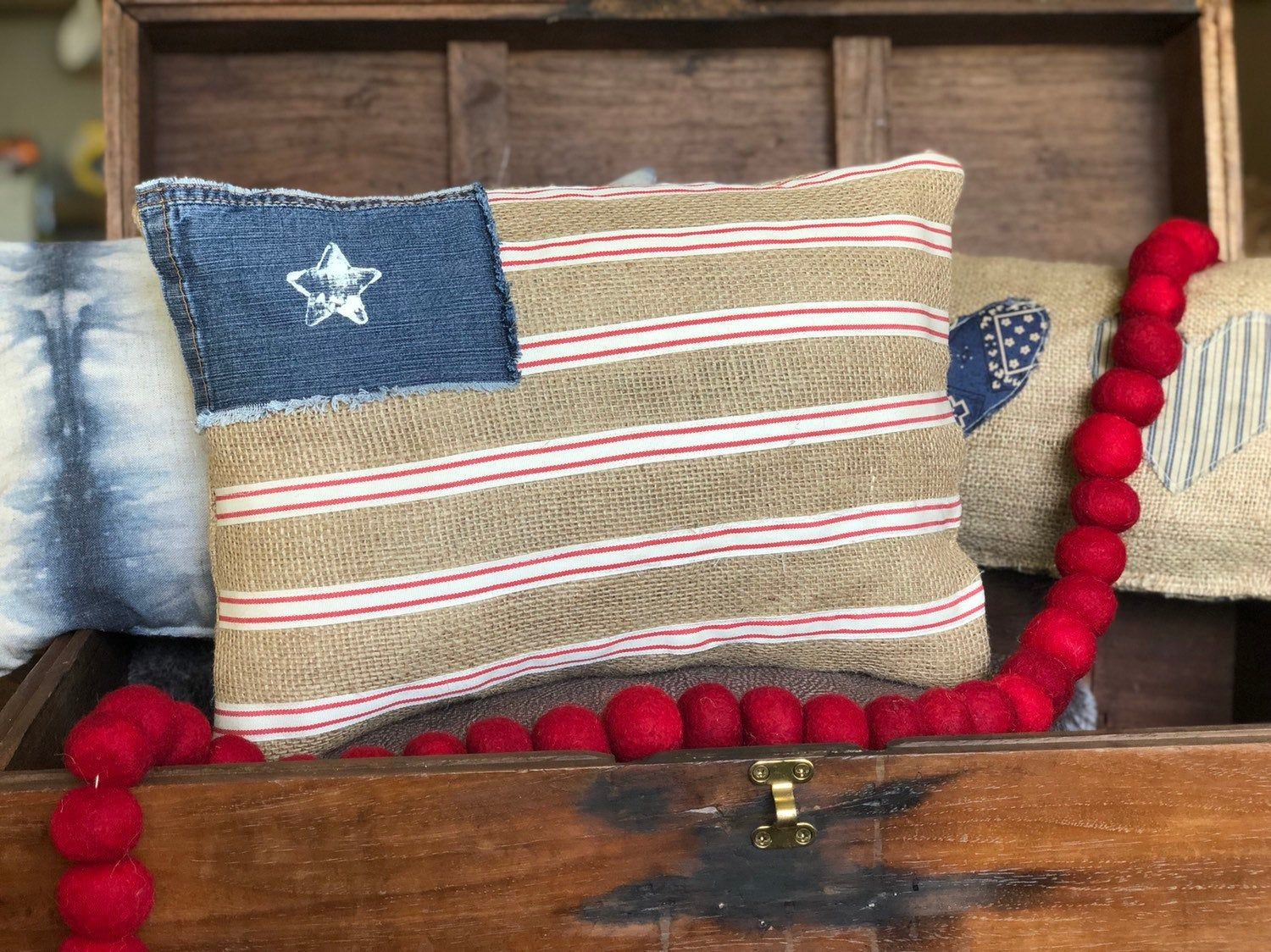 4th Of July Flag Pillow Farmhouse Decor Burlap Jeans Pillow Fourth Of July Decorations American Americana Home Decor Bench Decor Fourth Of July Decorations