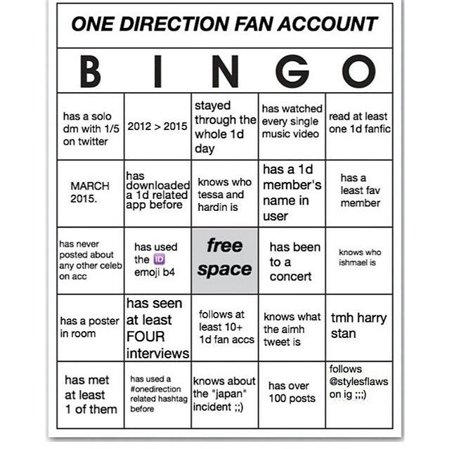 One Direction Fan Account Bingo First One To Comment Gets A Follow Zayn One Direction One Direction Directions