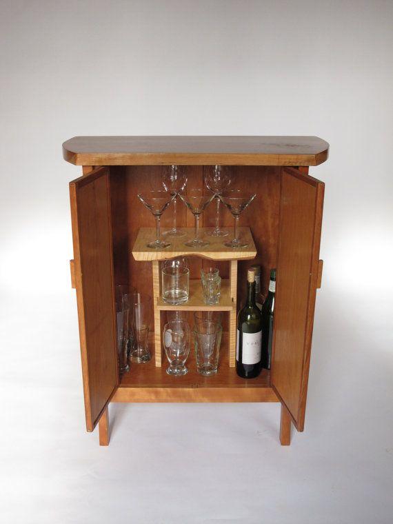 Cherry Bar Cabinet Narrow Wood