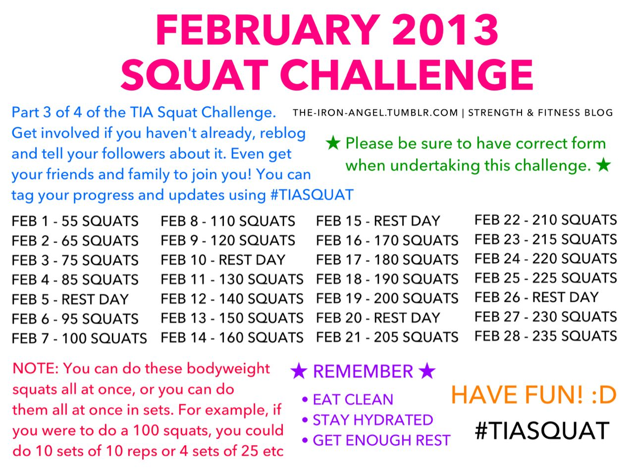 February Squat Challenge Healthy Living Exercise Pinterest Home Fun Circuits June 2012