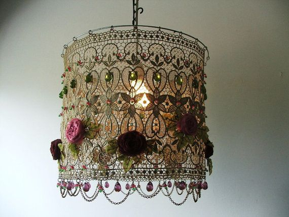 Pink & Burgundy Organza Handmade Flowers in a Delicate and Classic Lace Ceiling Light by Anatbon