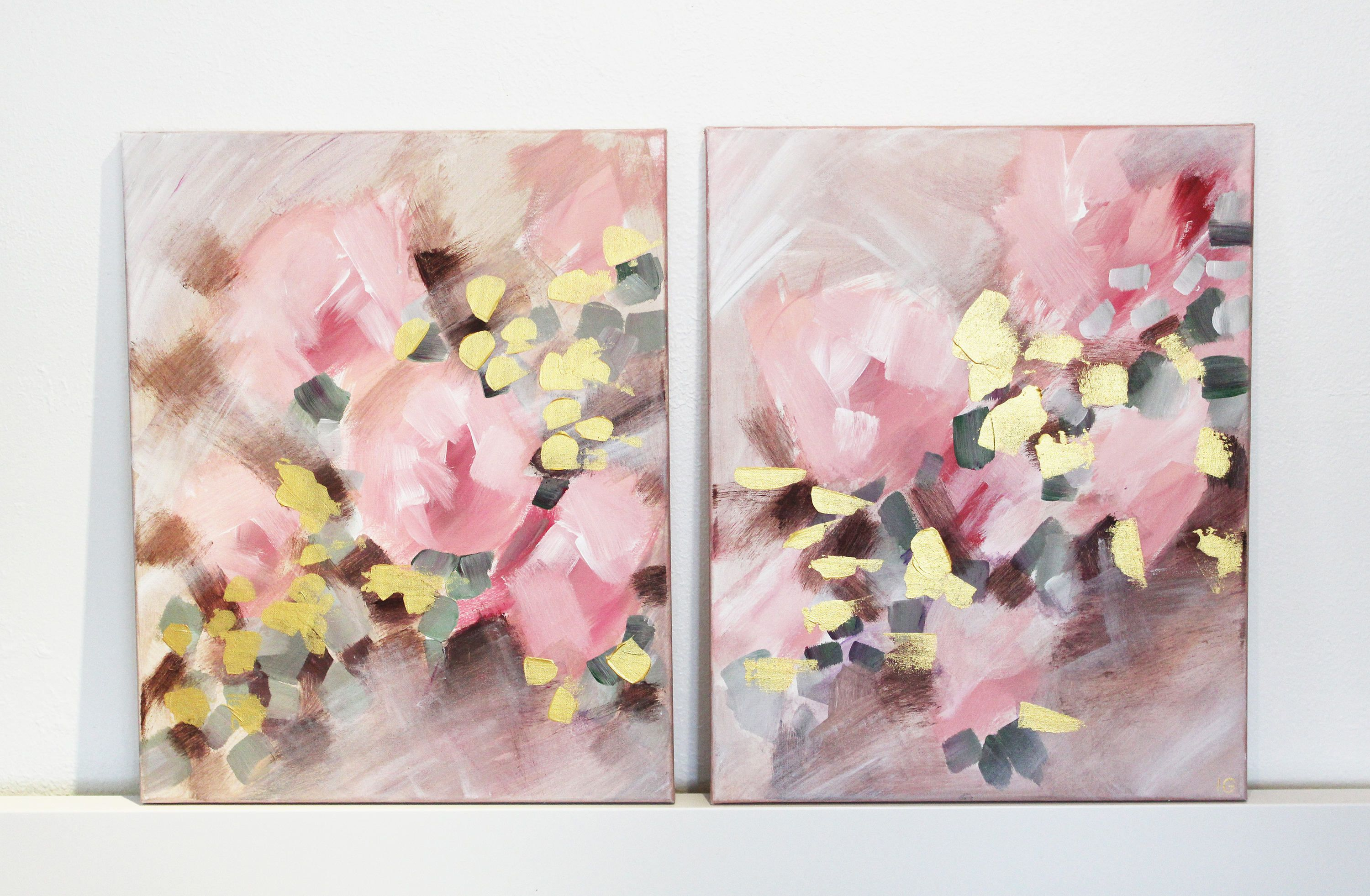 24x48 Original Blush Pink Canvas Painting Blush Gold Peony Painting Canvas Artwork Abstract Painting