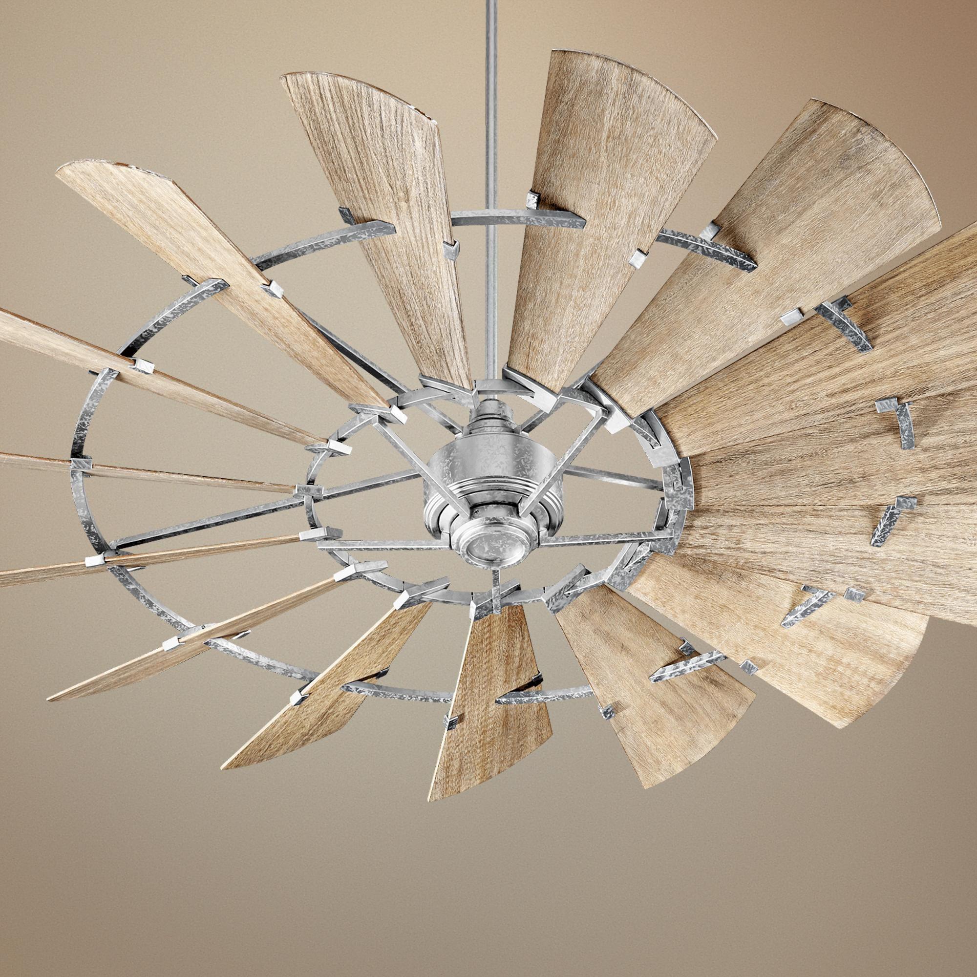 72 Quorum Windmill Galvanized Ceiling Fan 9p305 Lamps Plus Windmill Ceiling Fan Ceiling Fan Industrial Ceiling Fan