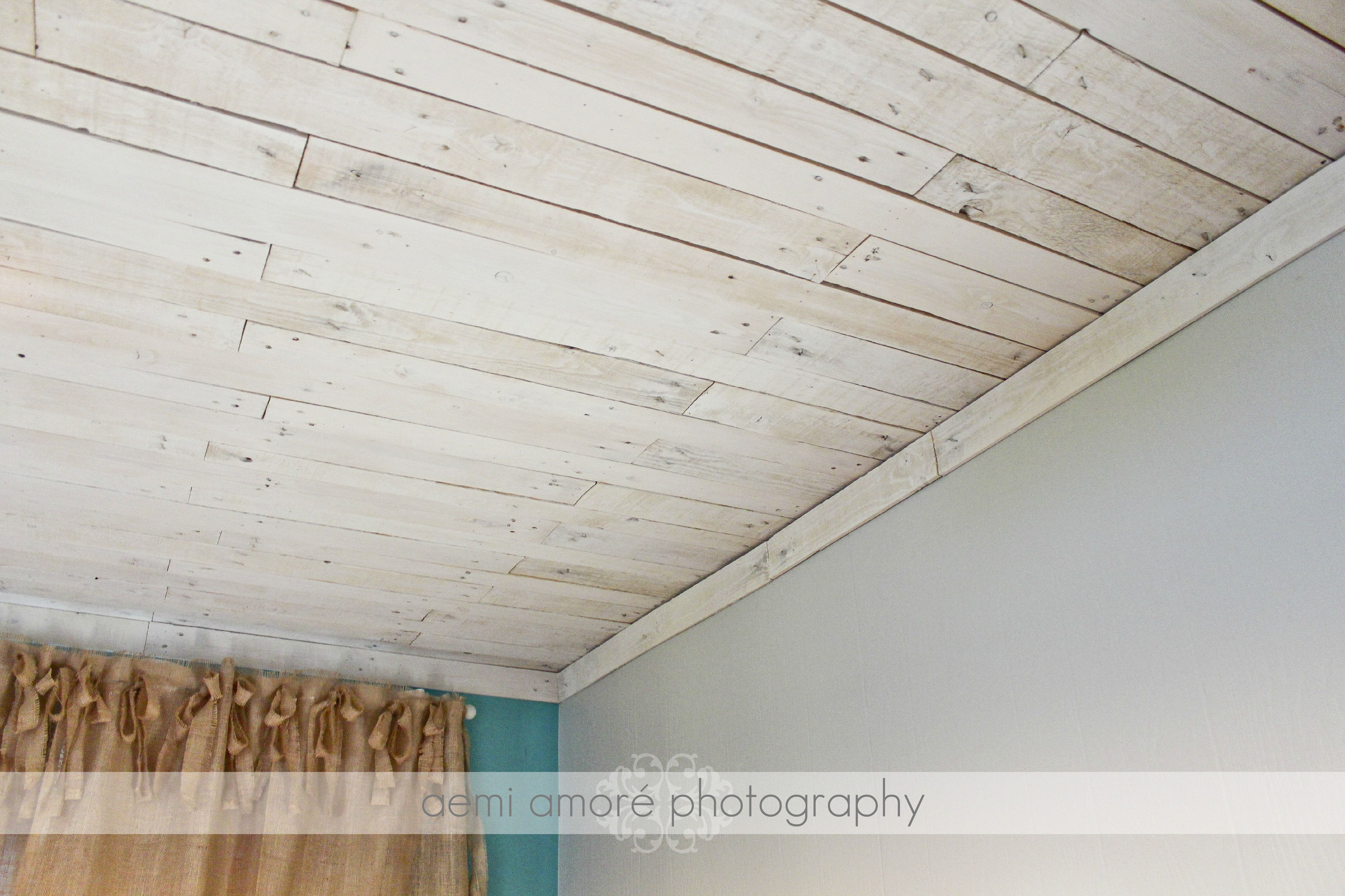 White Washed Wood Ceiling White Washed Ceiling I Made Using Pallet Wood My Pallet Ceiling