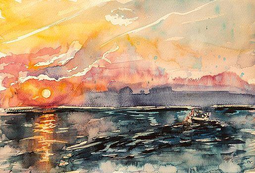 Boat at Sunset by Kovacs Anna Brigitta