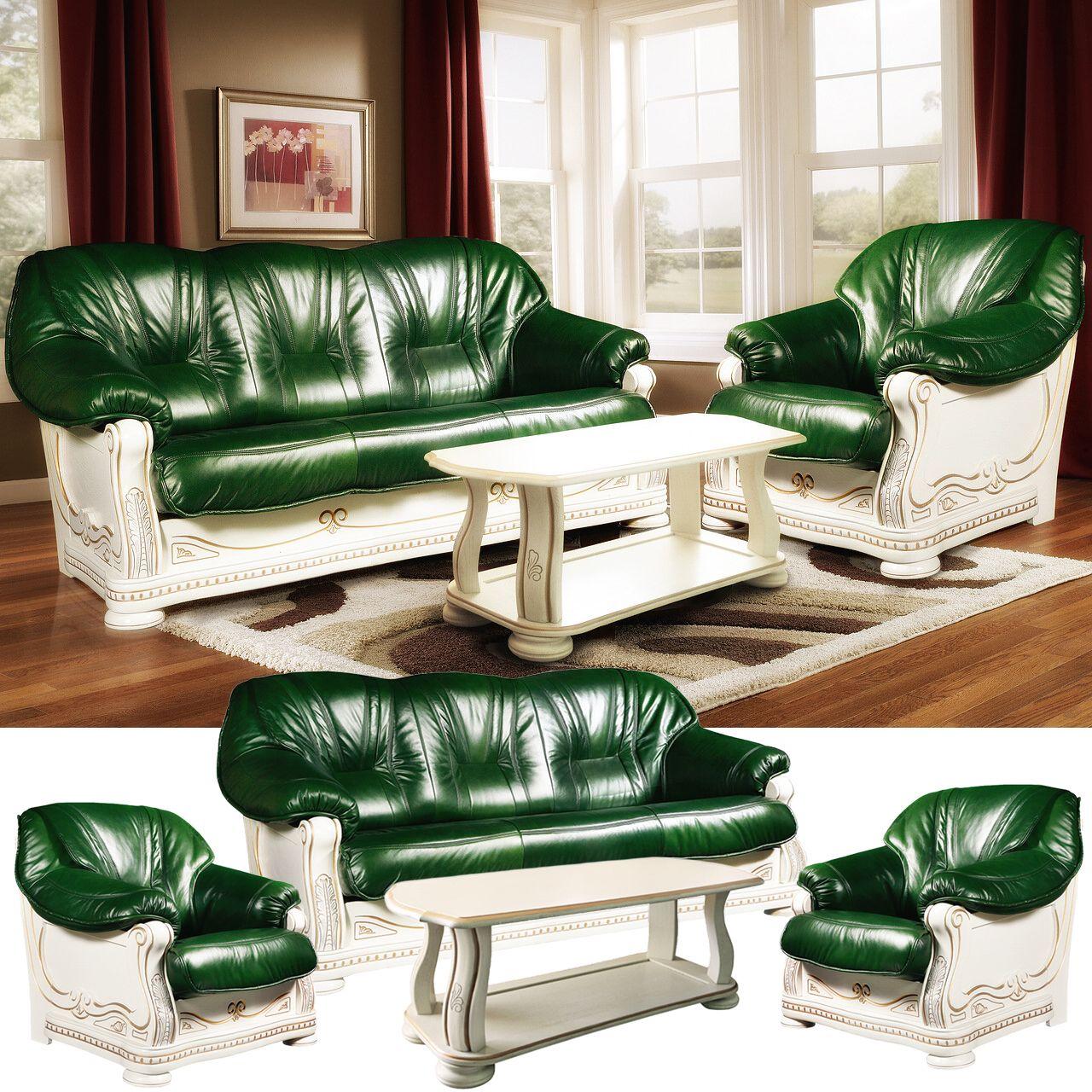 Luxus Leder Couchgarnitur