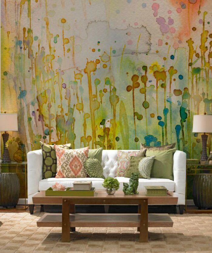 Wandmalerei Wohnzimmer Ideen: 32 Wandfarben-Ideen Mit Aquarell, Die Sie Begeistern