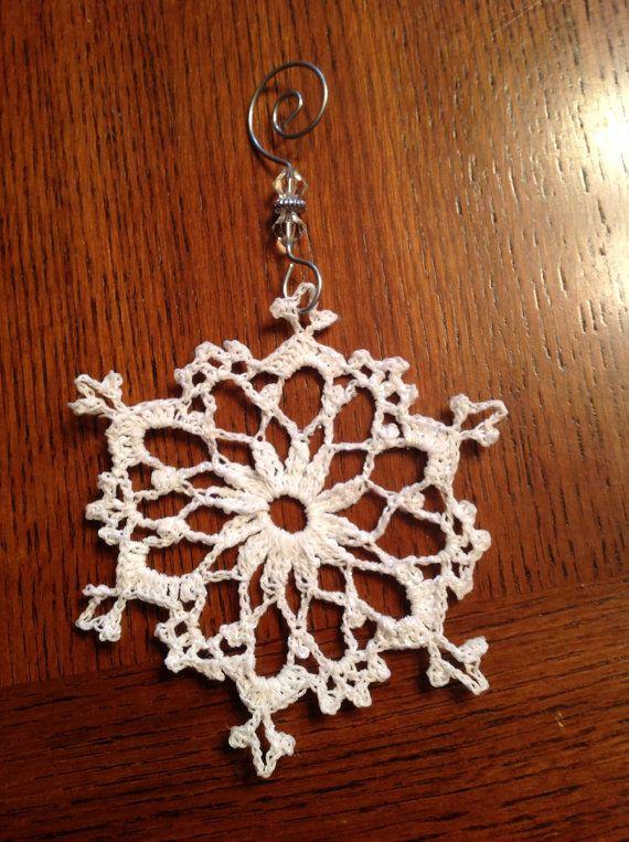 Crotcheted Large Glitter Snowflake Ornament by KitchenerCreations, $6.50