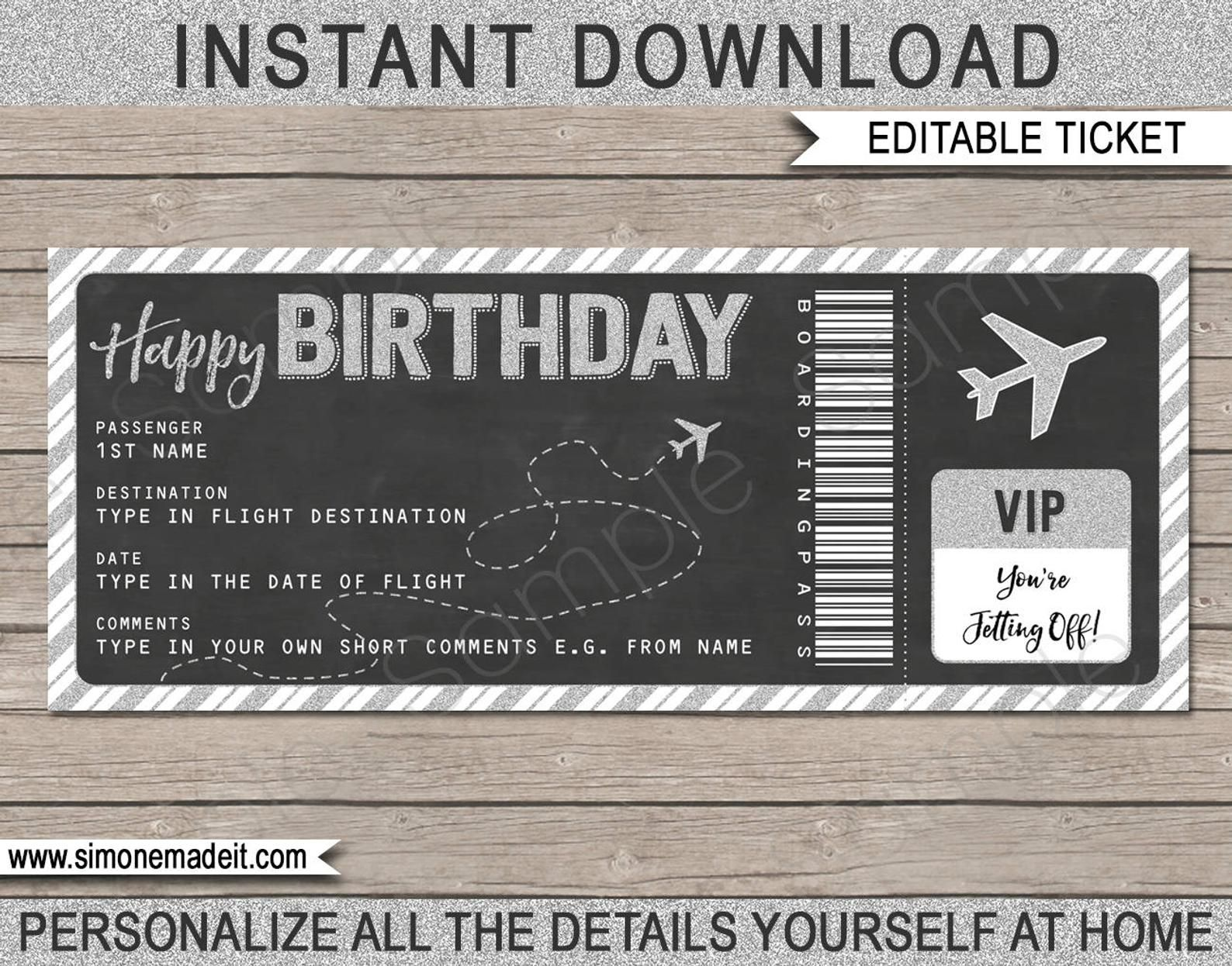 Birthday Boarding Pass Gift Ticket Surprise Flight Trip