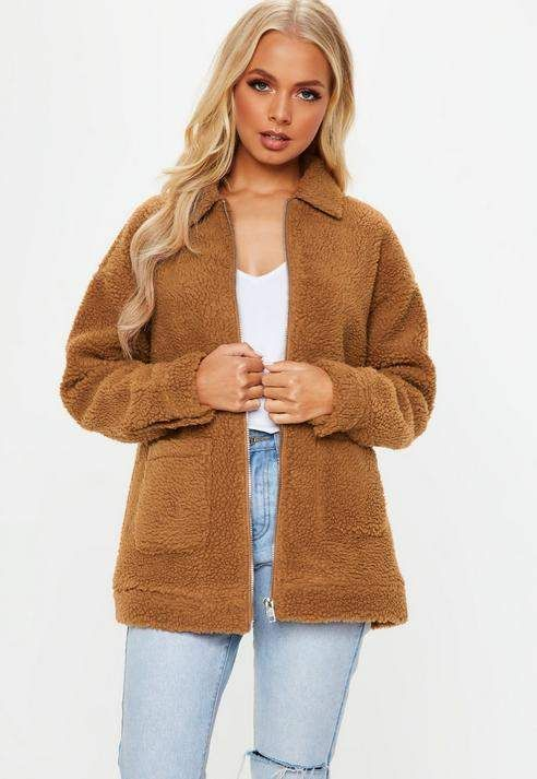 98b8f22ea Missguided Rust Oversized Borg Zip Through Teddy Jacket in 2019