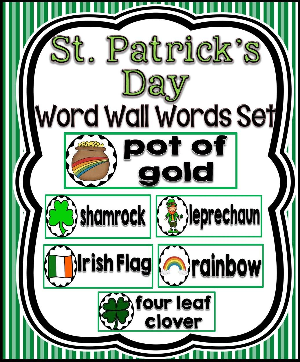 St Patrick S Day Word Wall Cards Set