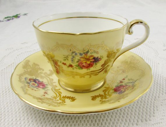 Aynsley Tea Cup and Saucer with Flowers and Gold Decor, Vintage Bone China