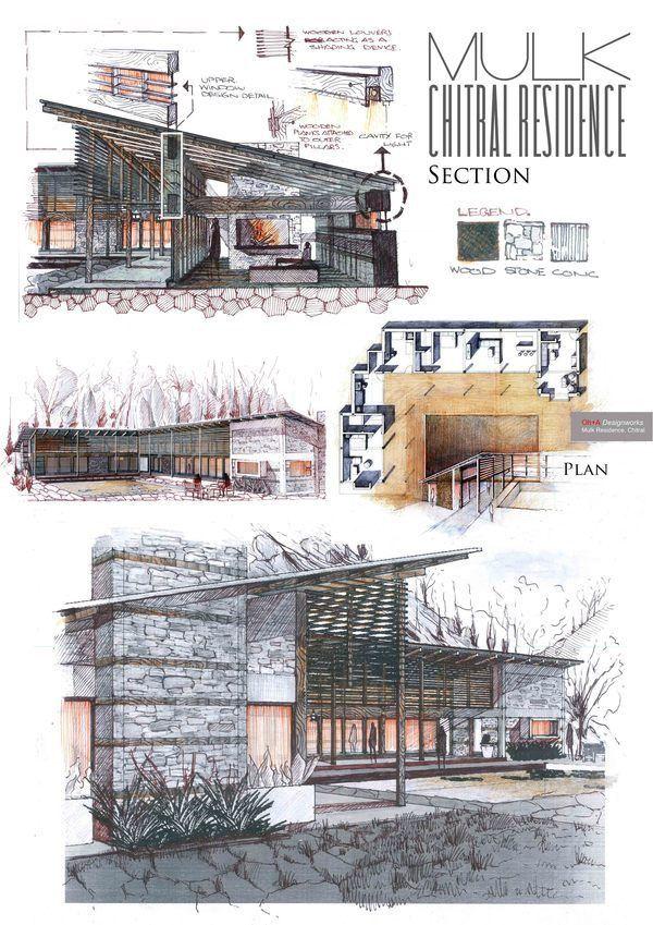 Architekturzeichnungen Rund Ums Haus Zeichnen Portfoliolayout Portfolio Beispiele Architektonische Modelle Klassische Architektur