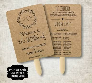 vintage wedding program fan template rustic kraft classic wreath