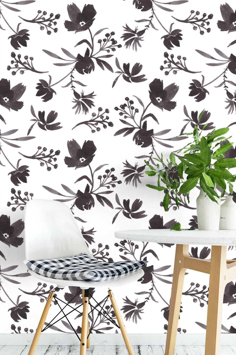 Flora Adaline White Removable Wallpaper Floral Peel And Stick Wallpaper Wall Mural Black And White B Removable Wallpaper Temporary Wallpaper Wall Wallpaper