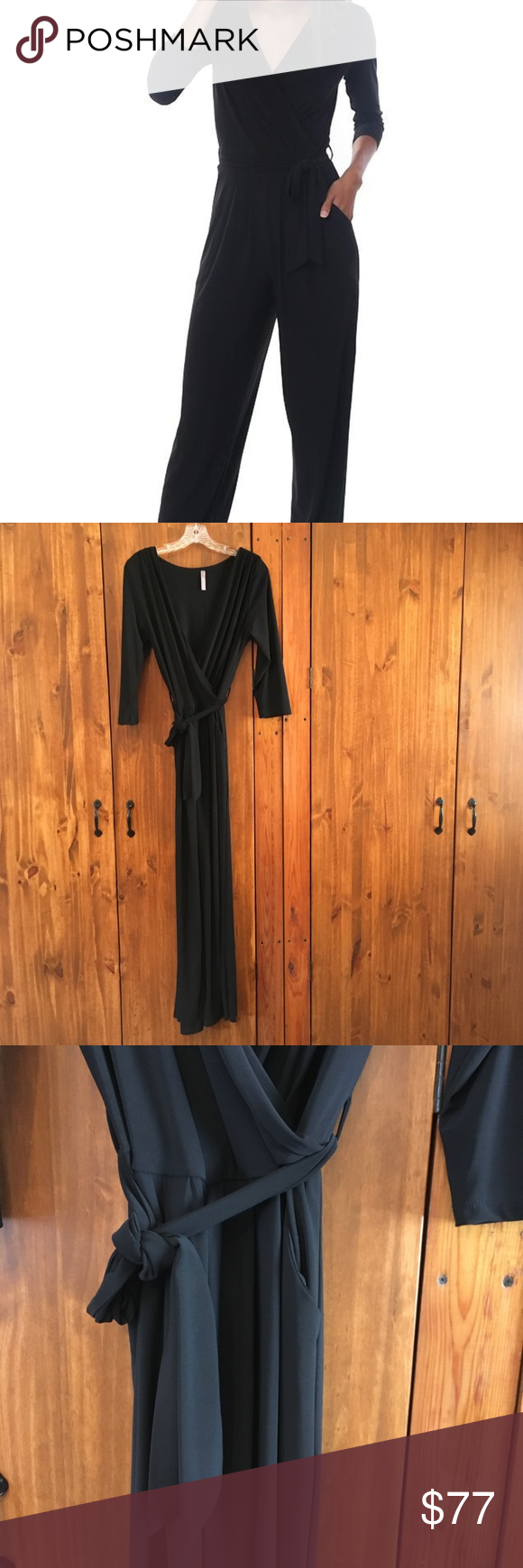 108cf842ea8e Last Tango Jumpsuit Black Size M 3/4 Sleeve Tie Waist Crossover V Neck Black  Dressy Jumpsuit. Fitted and flowing, tie waist and front pockets.