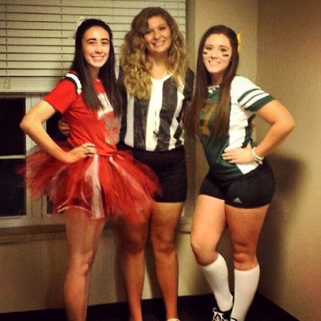 easy diy college halloween costumes cheerleader ref and football player - Halloween Costume Ideas College Students