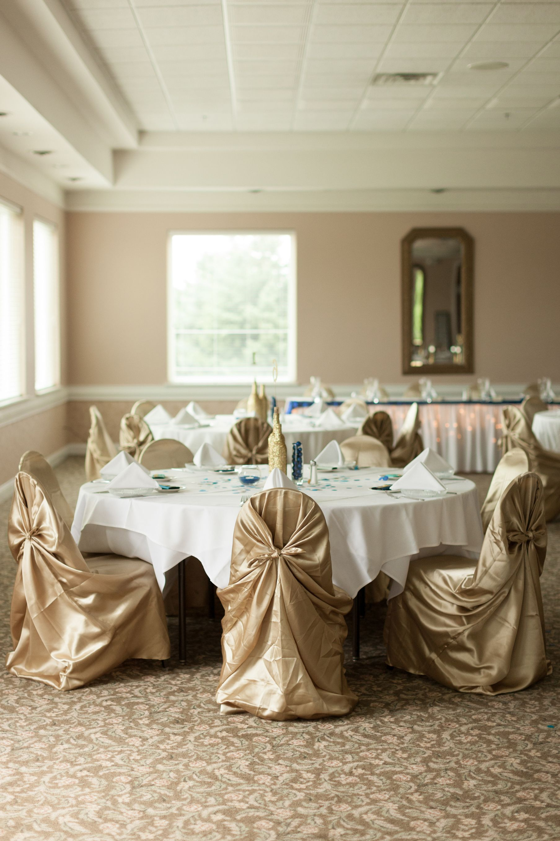 Wedding decorations for hall  Reception Hall Wedding Decorations gold universal satin chair cover