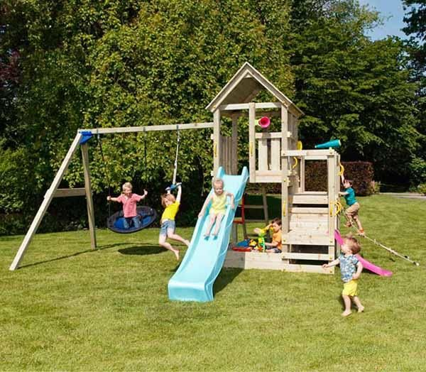 Casita jard n parque infantil de madera penthouse - Columpios para jardin ...